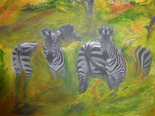 Zebra - 0,40 x 0,30 m -Acryl auf Leinwand