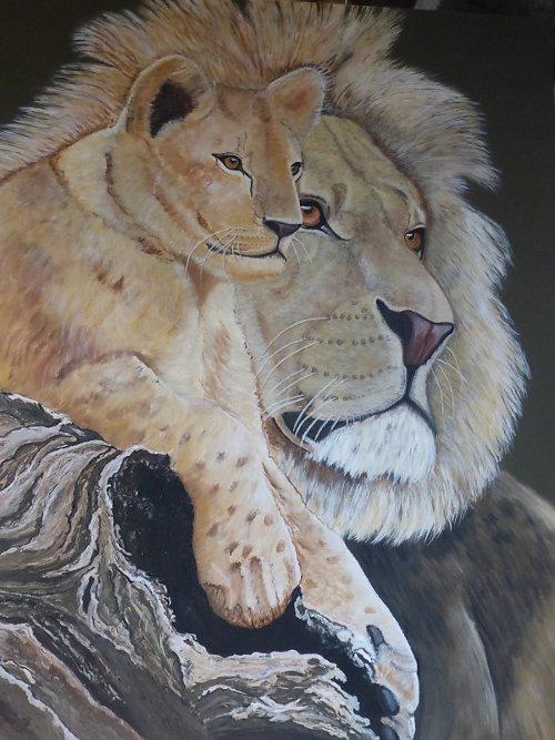 Löwe- 0,80x 1,00 m - Acryl auf Leinwand