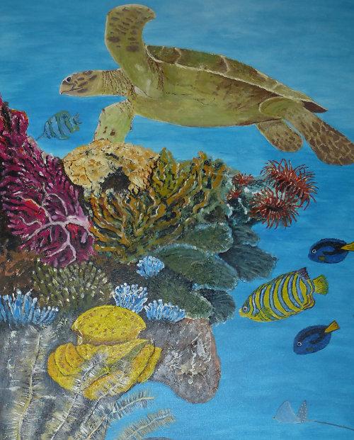 Korallenriff - 0,50 x 1,00 m - Acrylmischtechnik auf Leinwand